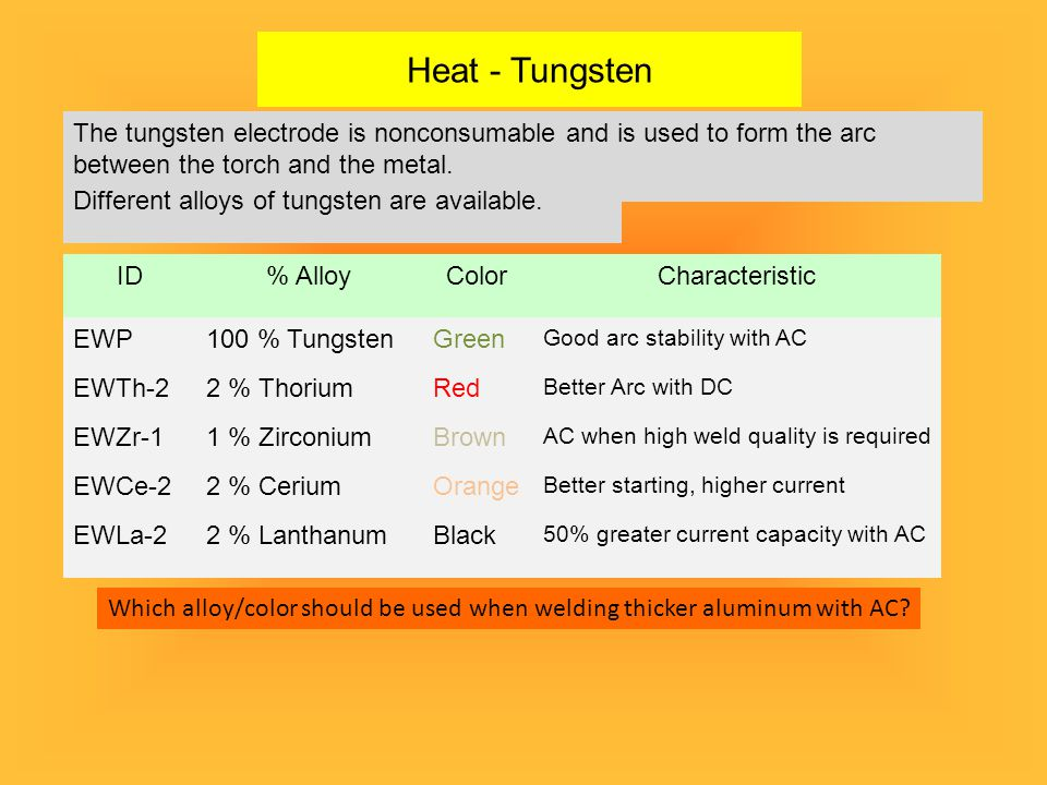 Heat - Tungsten The tungsten electrode is nonconsumable and is used to form the arc between the torch and the metal.