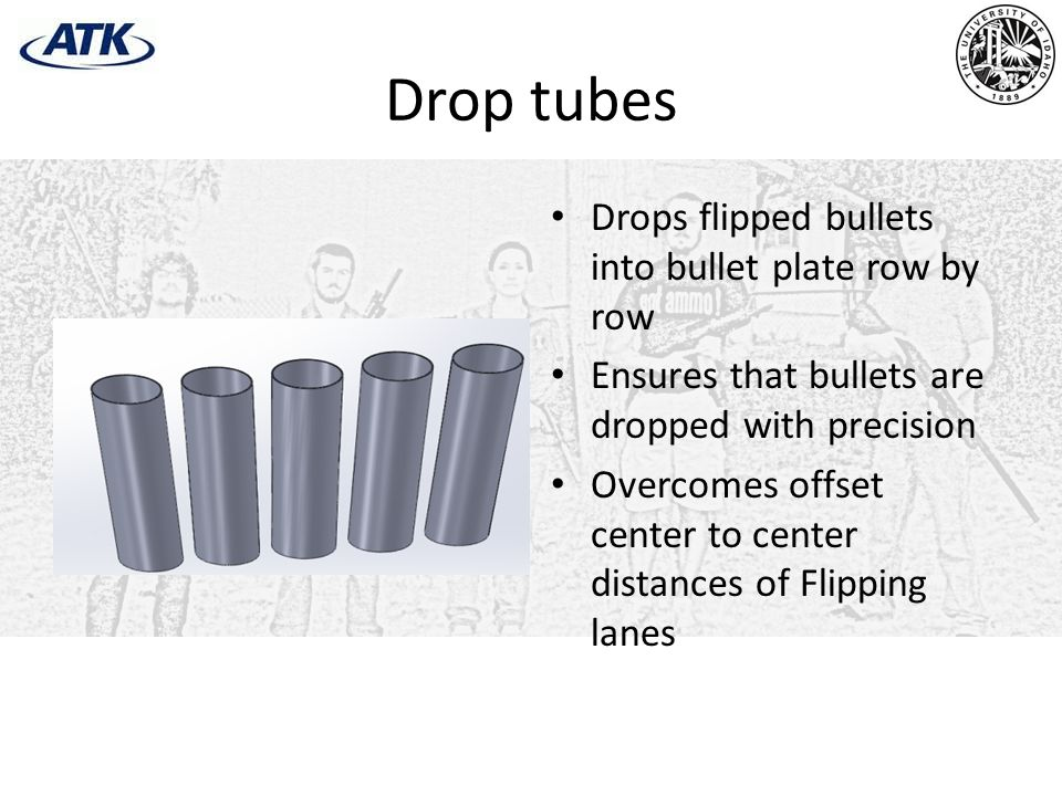 Drop tubes Drops flipped bullets into bullet plate row by row
