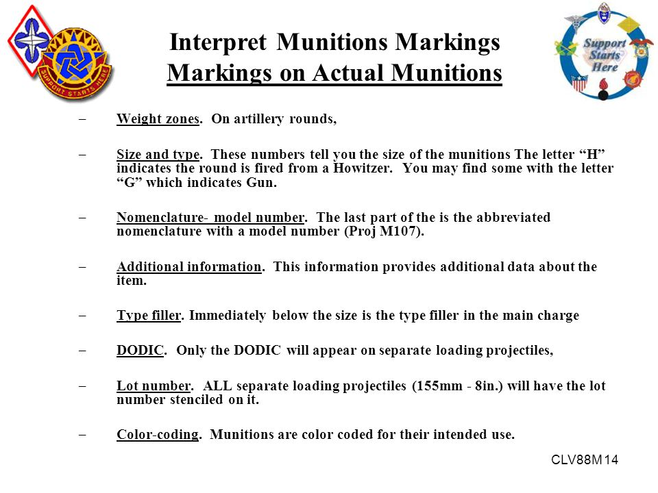 Interpret Munitions Markings Markings on Actual Munitions