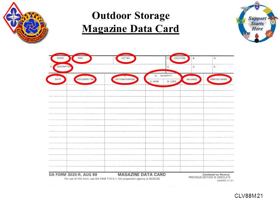 Outdoor Storage Magazine Data Card