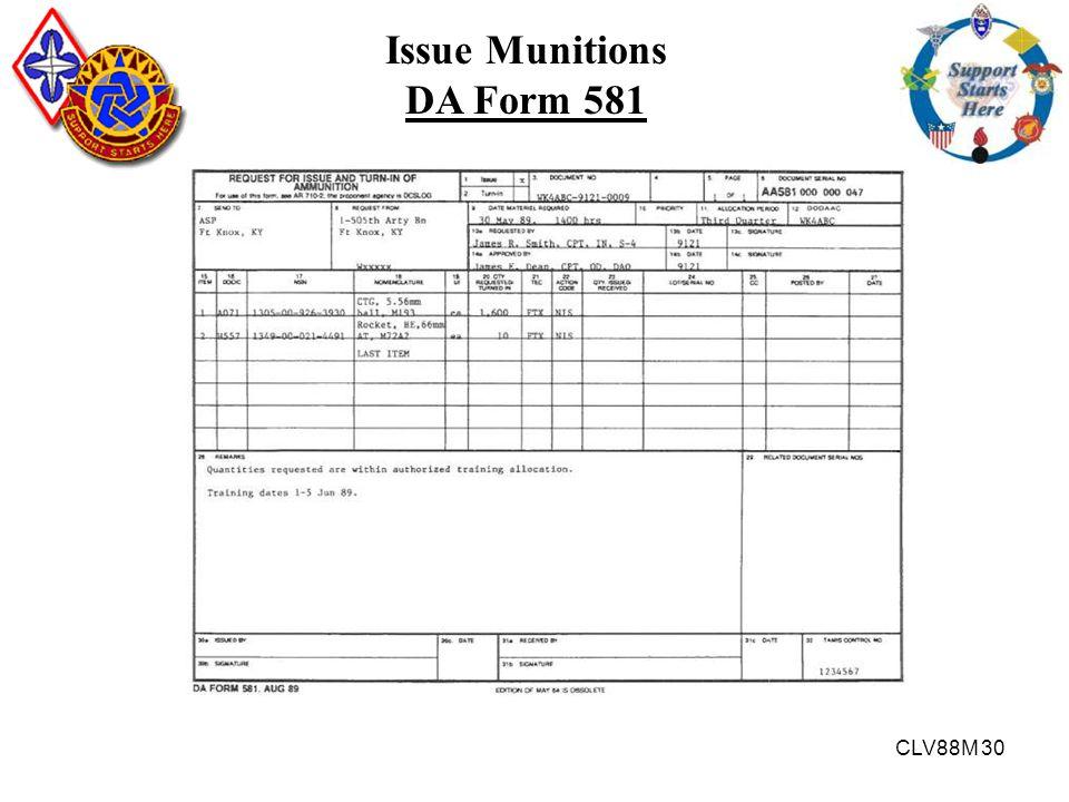 Issue Munitions DA Form 581
