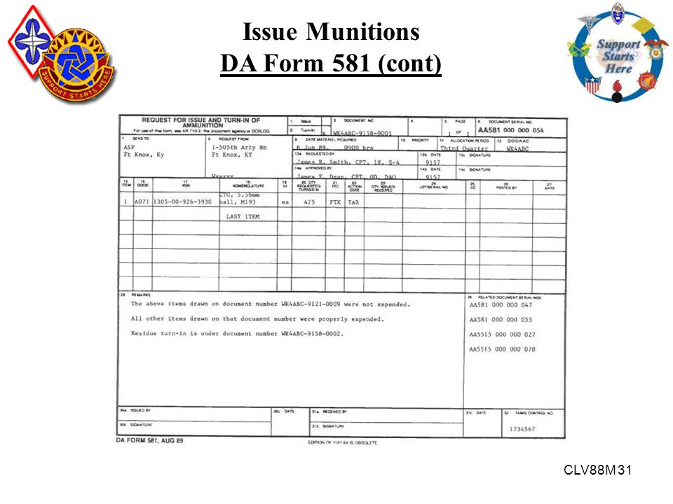Issue Munitions DA Form 581 (cont)
