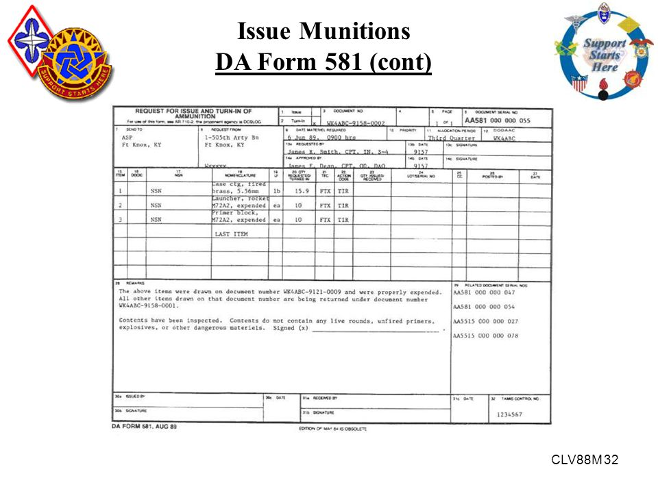 Issue Munitions DA Form 581 (cont)
