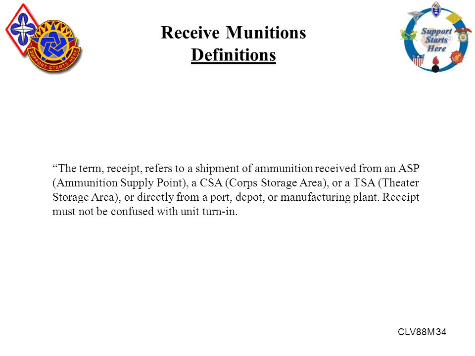 Receive Munitions Definitions