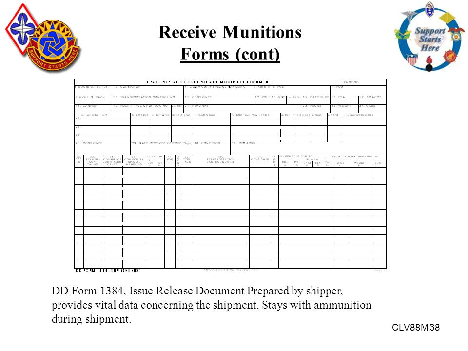 Receive Munitions Forms (cont)