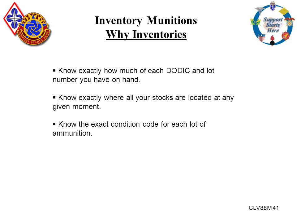 Inventory Munitions Why Inventories