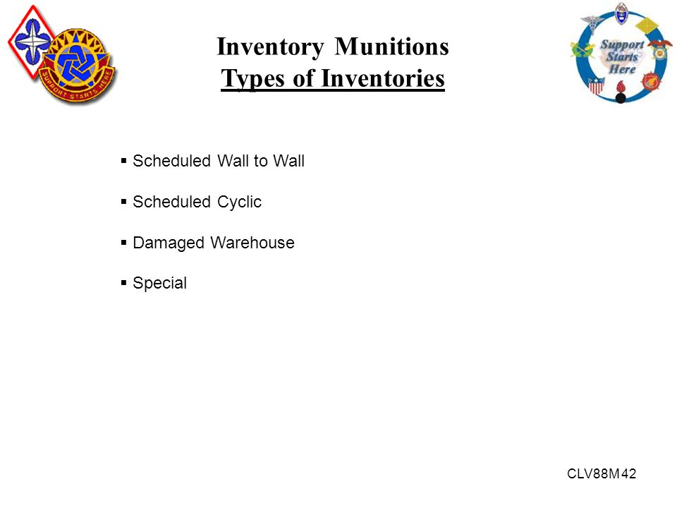 Inventory Munitions Types of Inventories