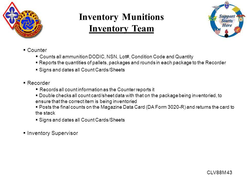 Inventory Munitions Inventory Team