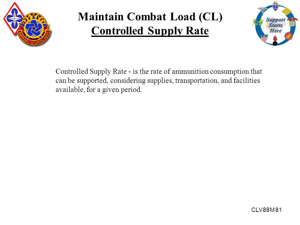 Maintain Combat Load (CL) Controlled Supply Rate