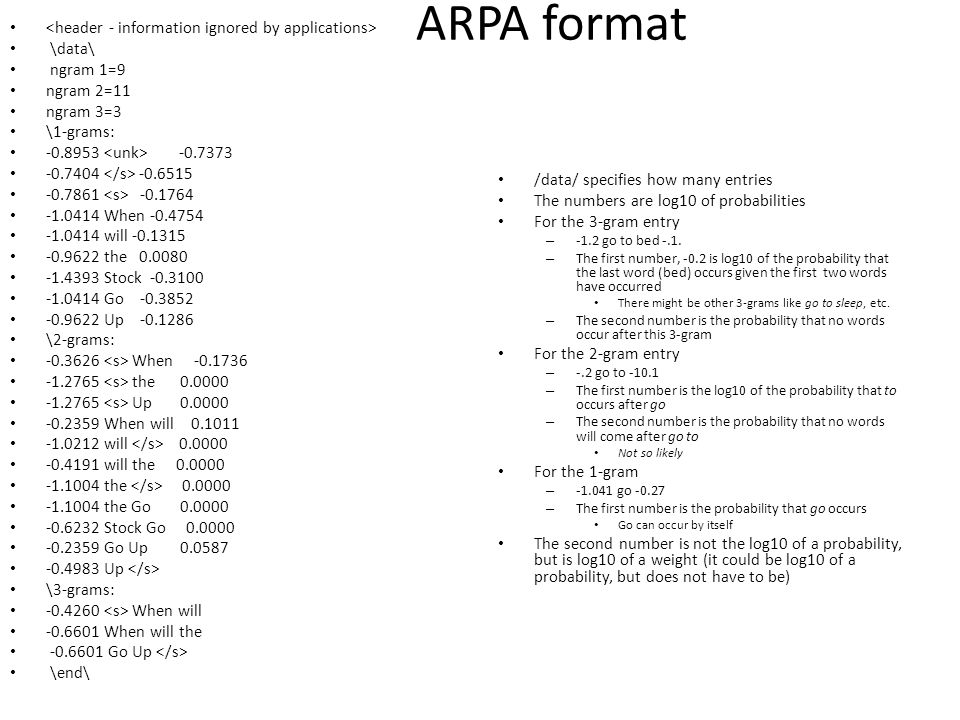 ARPA format <header - information ignored by applications>