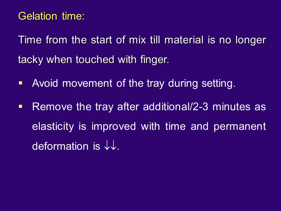 Avoid movement of the tray during setting.