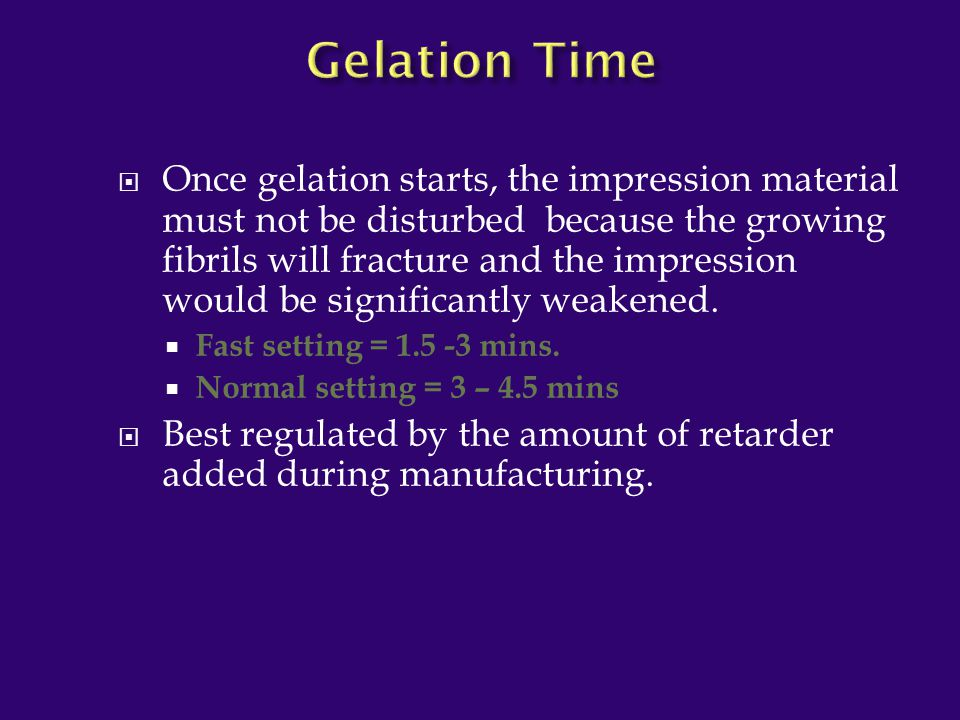Gelation Time