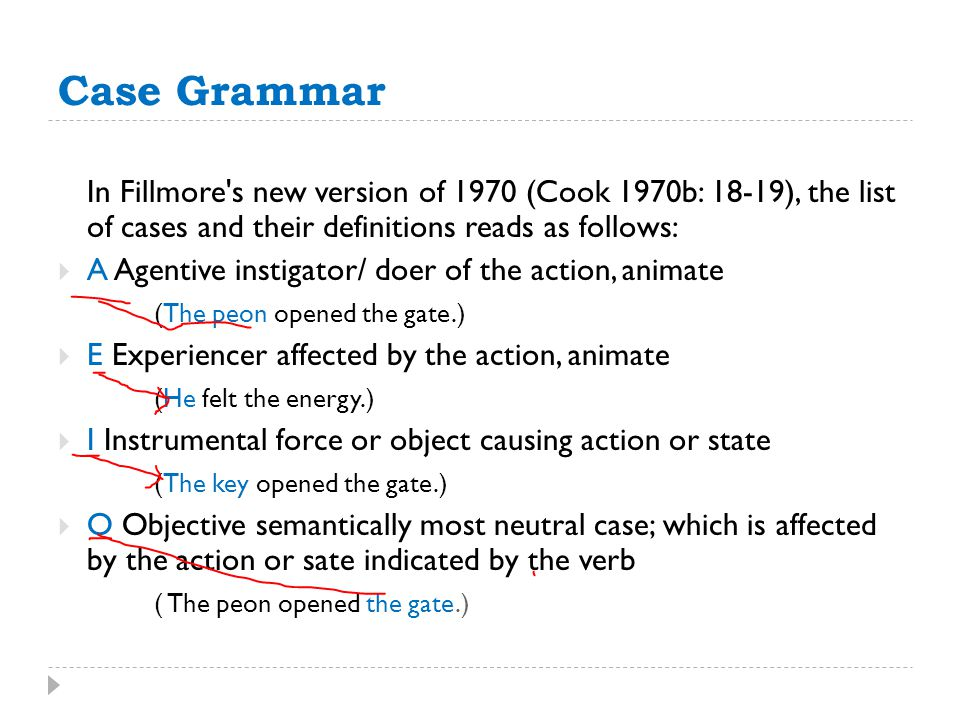 Case Grammar In Fillmore s new version of 1970 (Cook 1970b: 18-19), the list of cases and their definitions reads as follows: