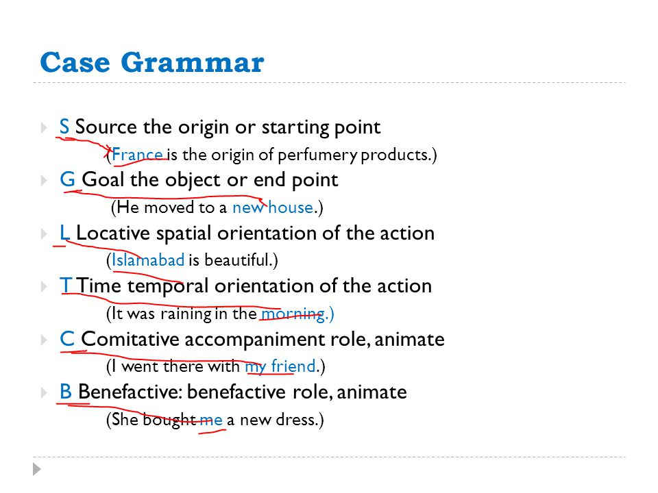 Case Grammar S Source the origin or starting point