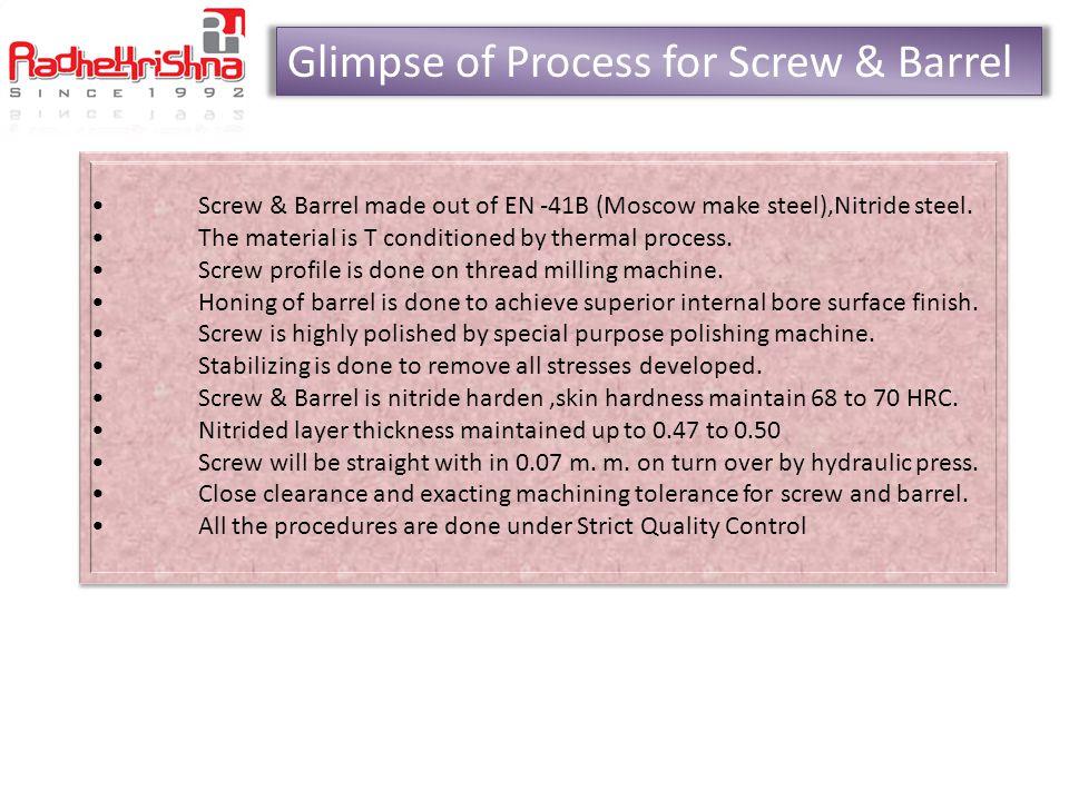 Glimpse of Process for Screw & Barrel