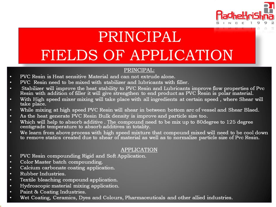 PRINCIPAL FIELDS OF APPLICATION