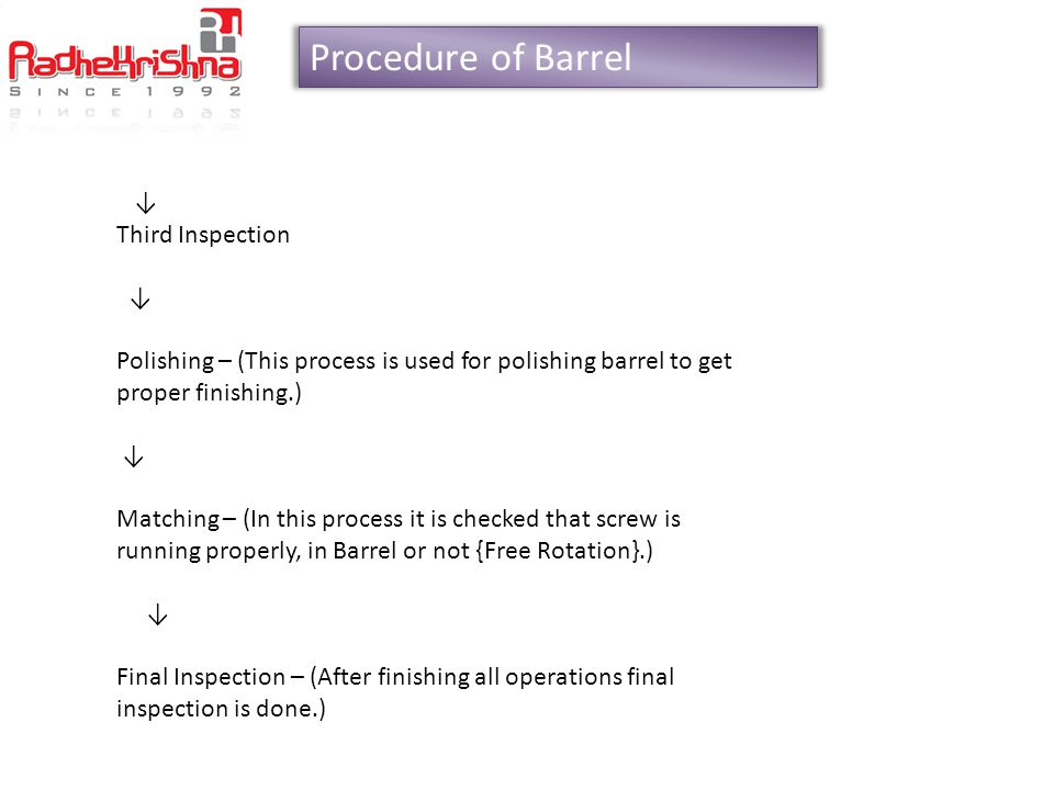 Procedure of Barrel ↓ Third Inspection