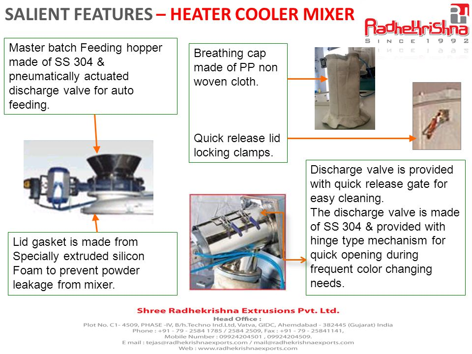 SALIENT FEATURES – HEATER COOLER MIXER