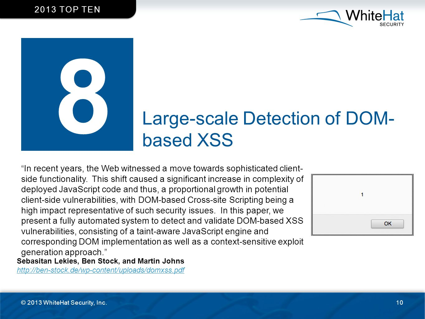 8 Large-scale Detection of DOM- based XSS