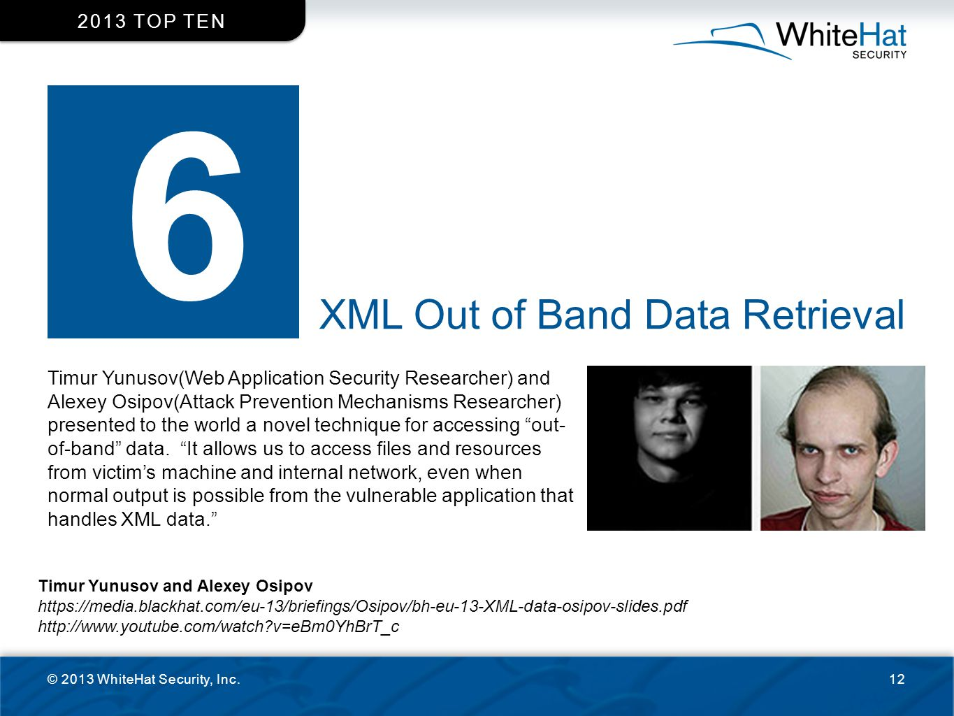 6 XML Out of Band Data Retrieval