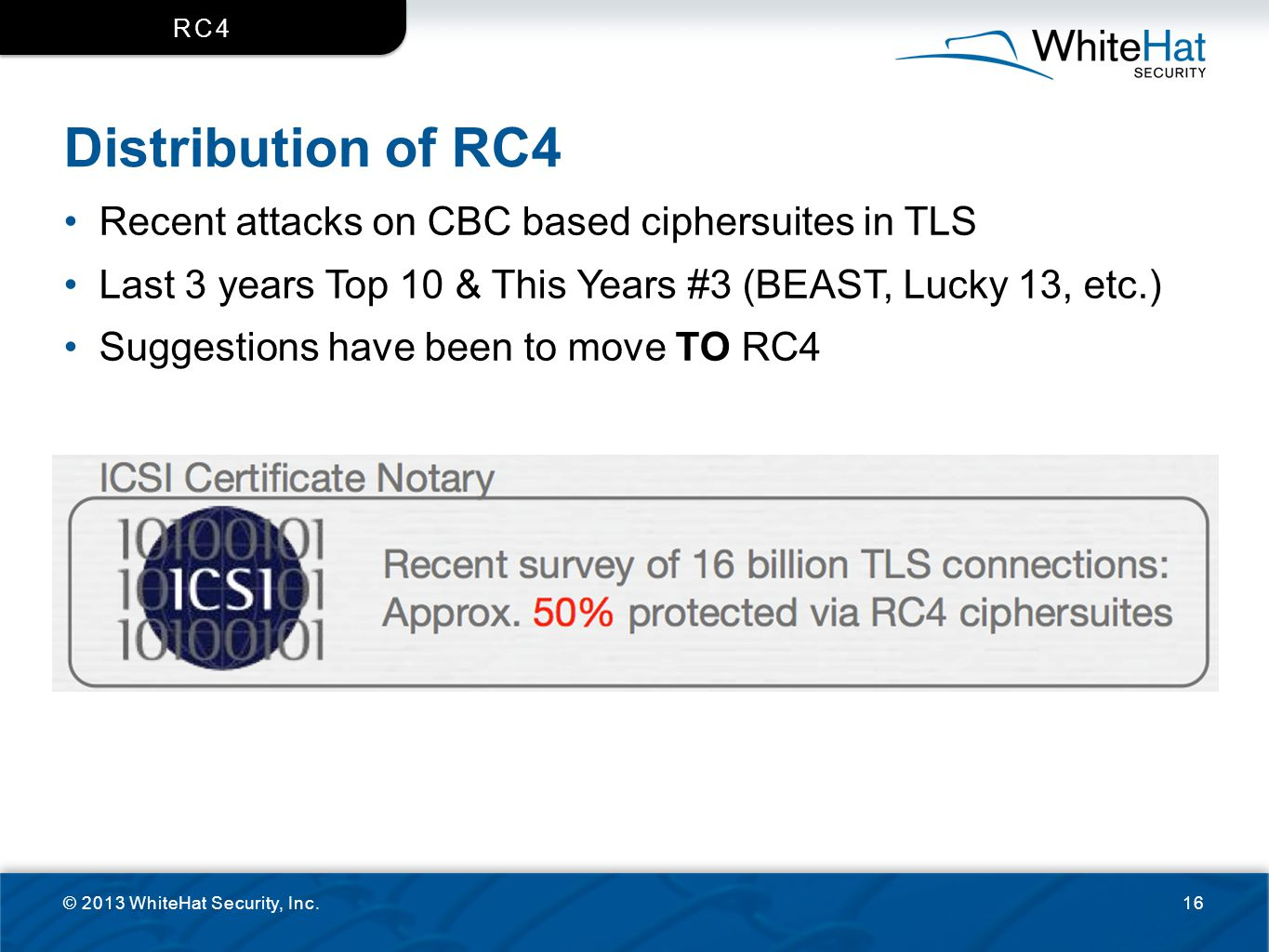 Distribution of RC4 Recent attacks on CBC based ciphersuites in TLS
