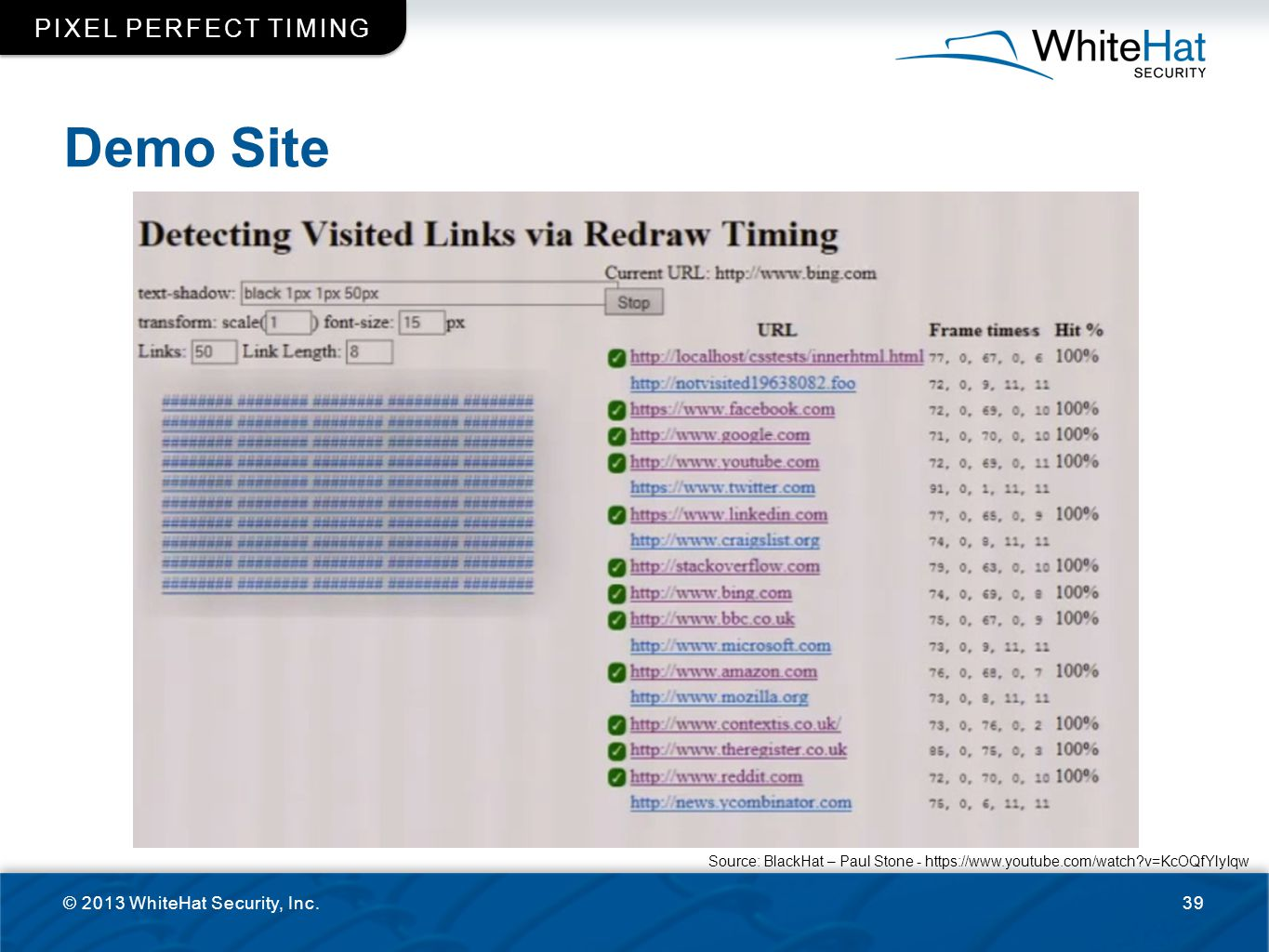Demo Site Pixel perfect timing © 2013 WhiteHat Security, Inc.