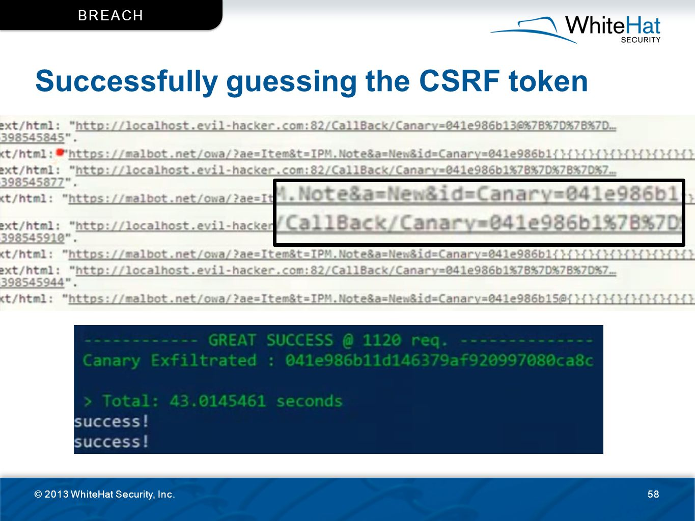 Successfully guessing the CSRF token