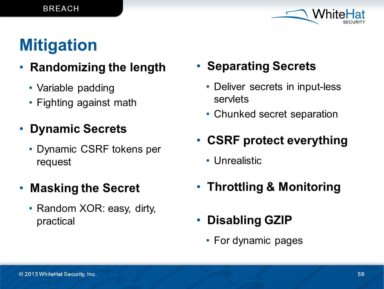 Mitigation Separating Secrets Randomizing the length Dynamic Secrets