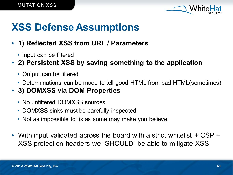 XSS Defense Assumptions