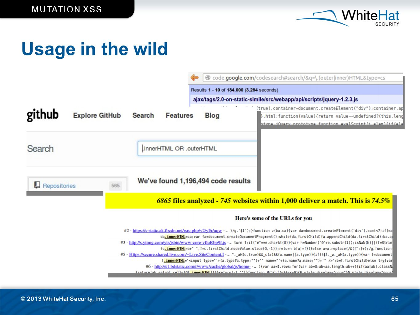 Mutation XSS Usage in the wild © 2013 WhiteHat Security, Inc.