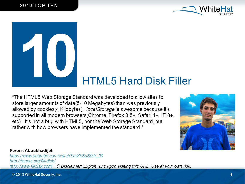 2013 top ten 10. HTML5 Hard Disk Filler.