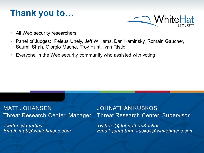 Thank you to… Matt Johansen Threat Research Center, Manager