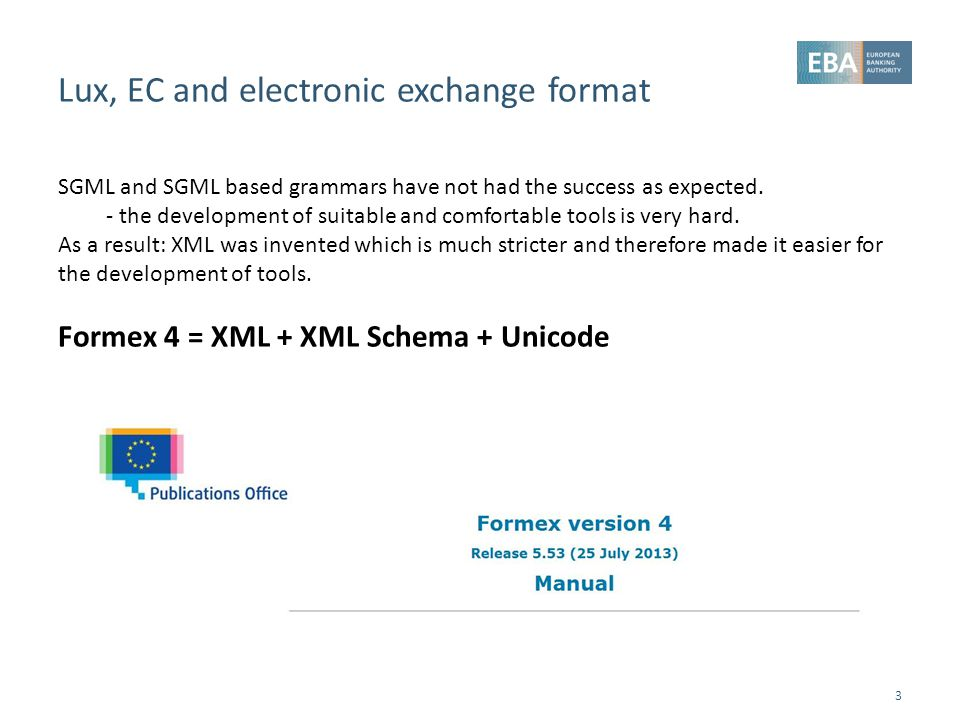 Lux, EC and electronic exchange format