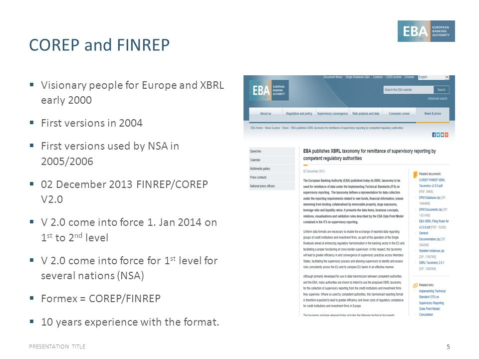 COREP and FINREP Visionary people for Europe and XBRL early 2000