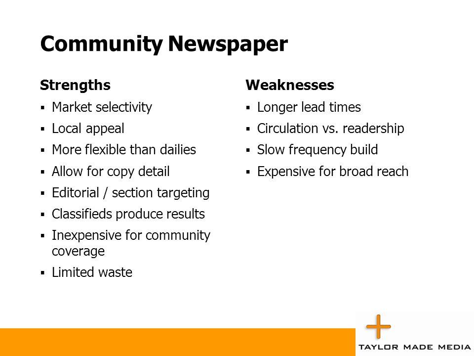 Community Newspaper Strengths Weaknesses Market selectivity