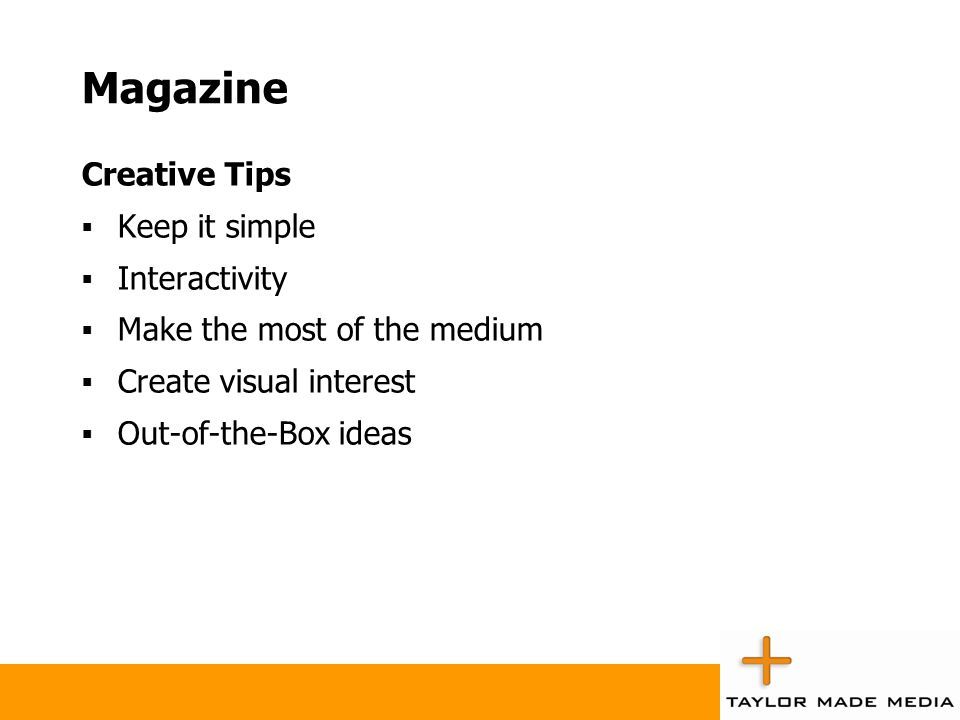 Magazine Creative Tips Keep it simple Interactivity