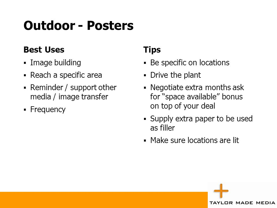 Outdoor - Posters Best Uses Tips Image building Reach a specific area
