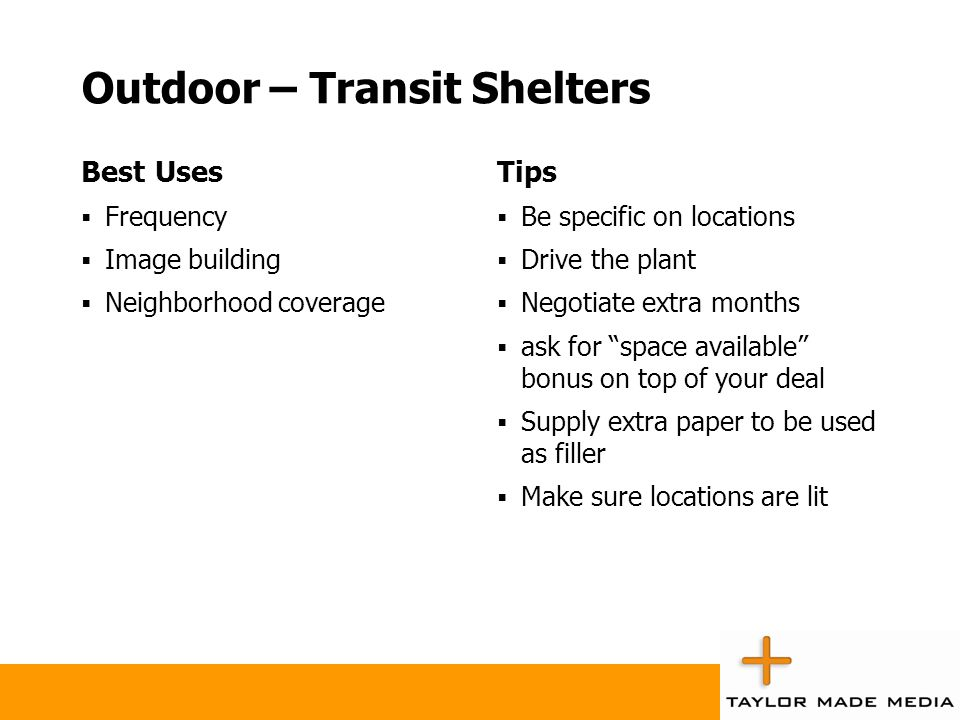 Outdoor – Transit Shelters