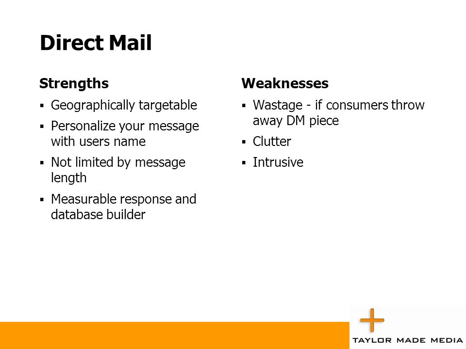 Direct Mail Strengths Weaknesses Geographically targetable