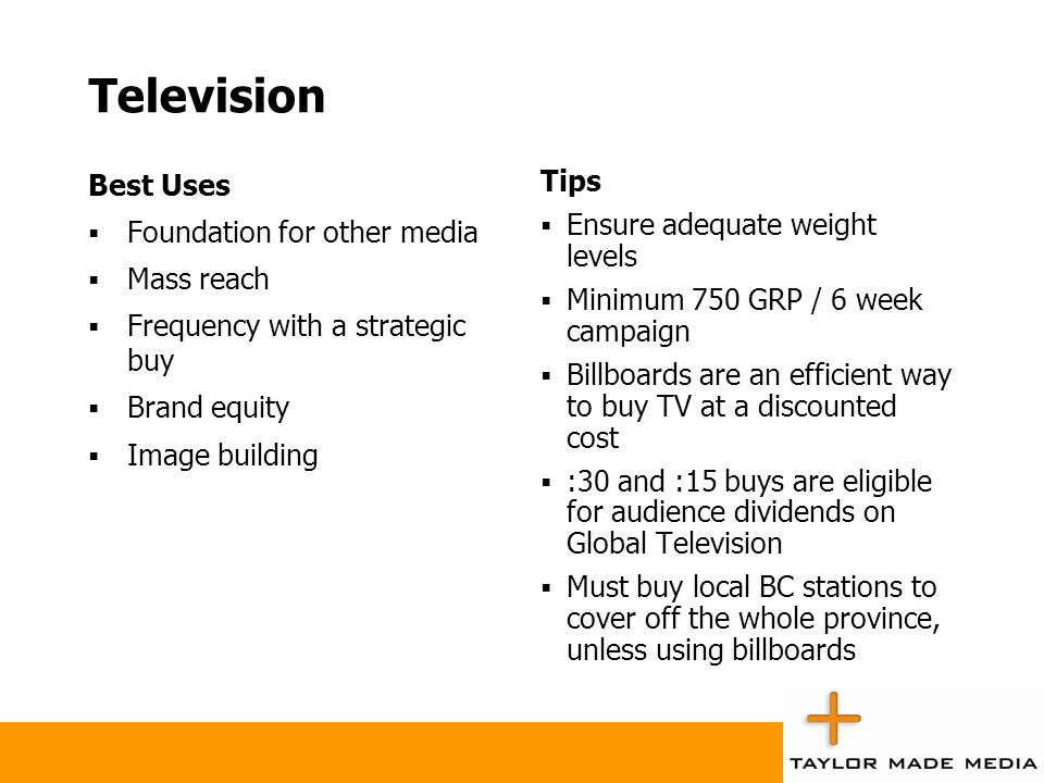 Television Best Uses Foundation for other media Mass reach