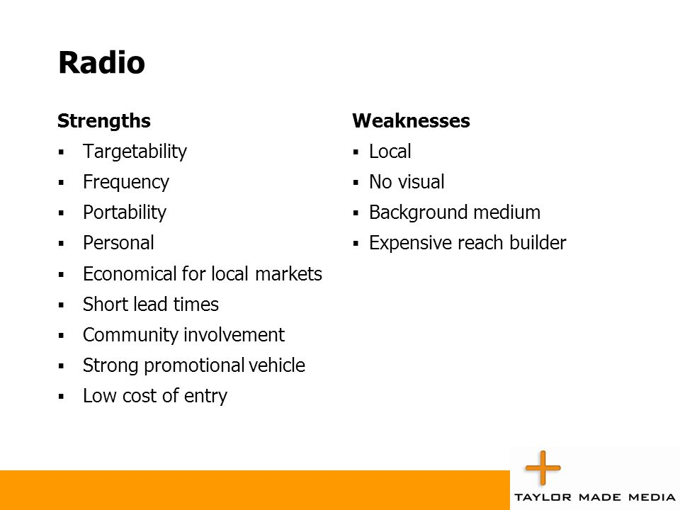 Radio Strengths Targetability Frequency Portability Personal