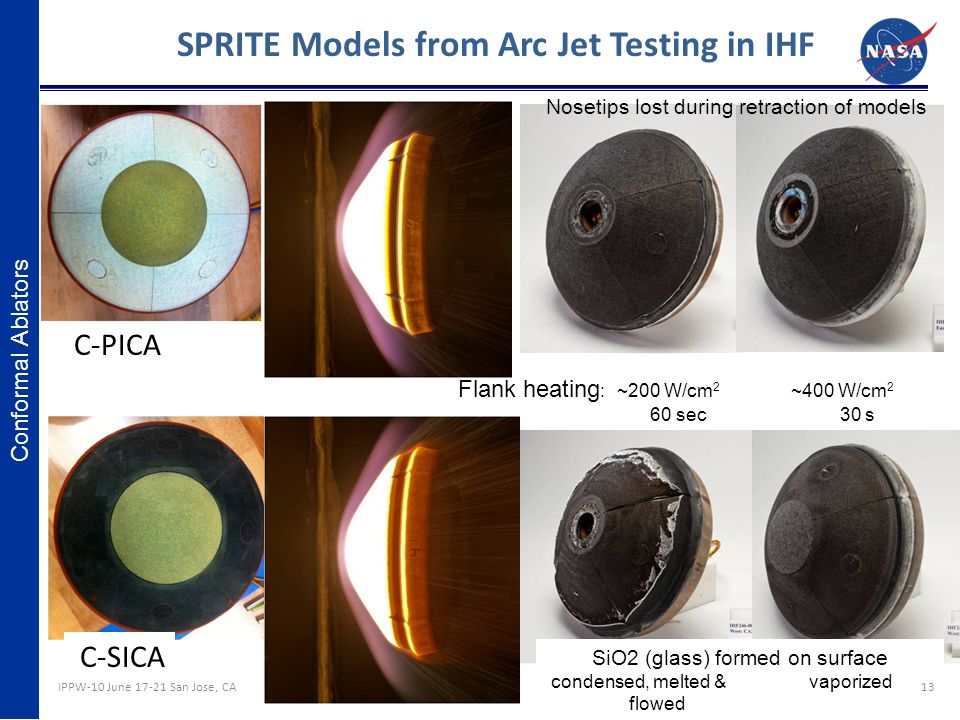 SPRITE Models from Arc Jet Testing in IHF