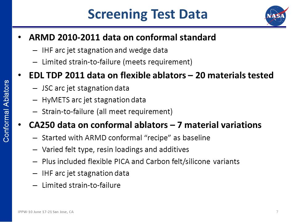 Screening Test Data ARMD 2010-2011 data on conformal standard