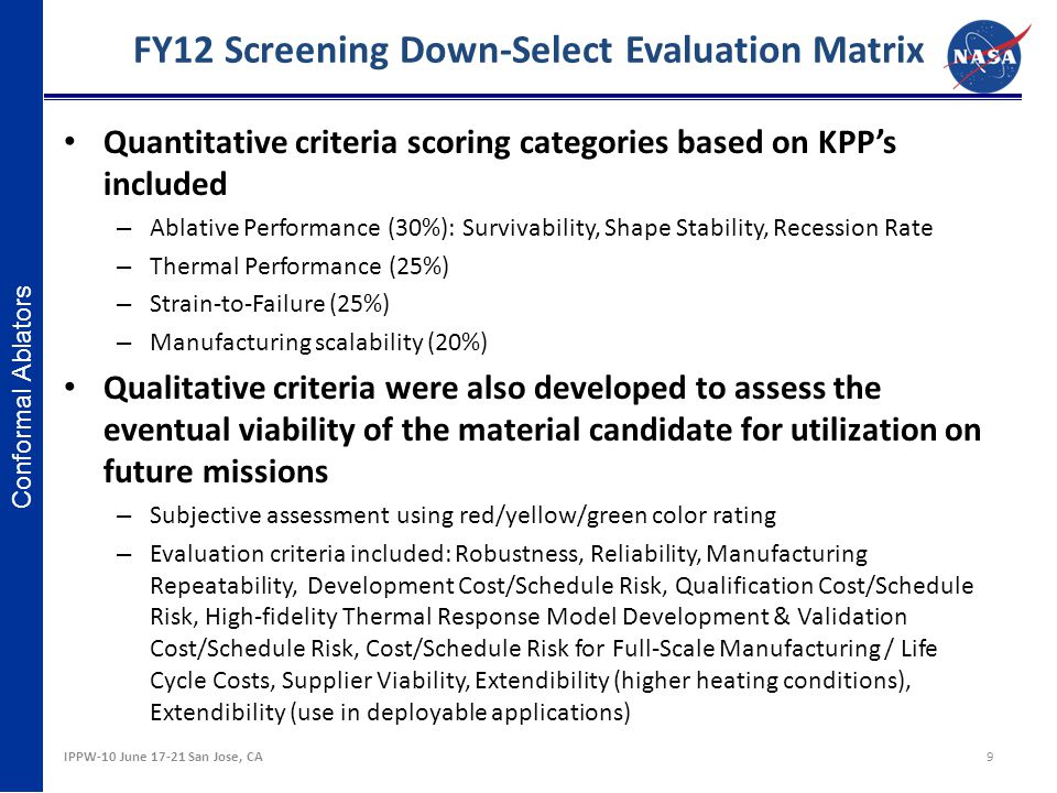 FY12 Screening Down-Select Evaluation Matrix