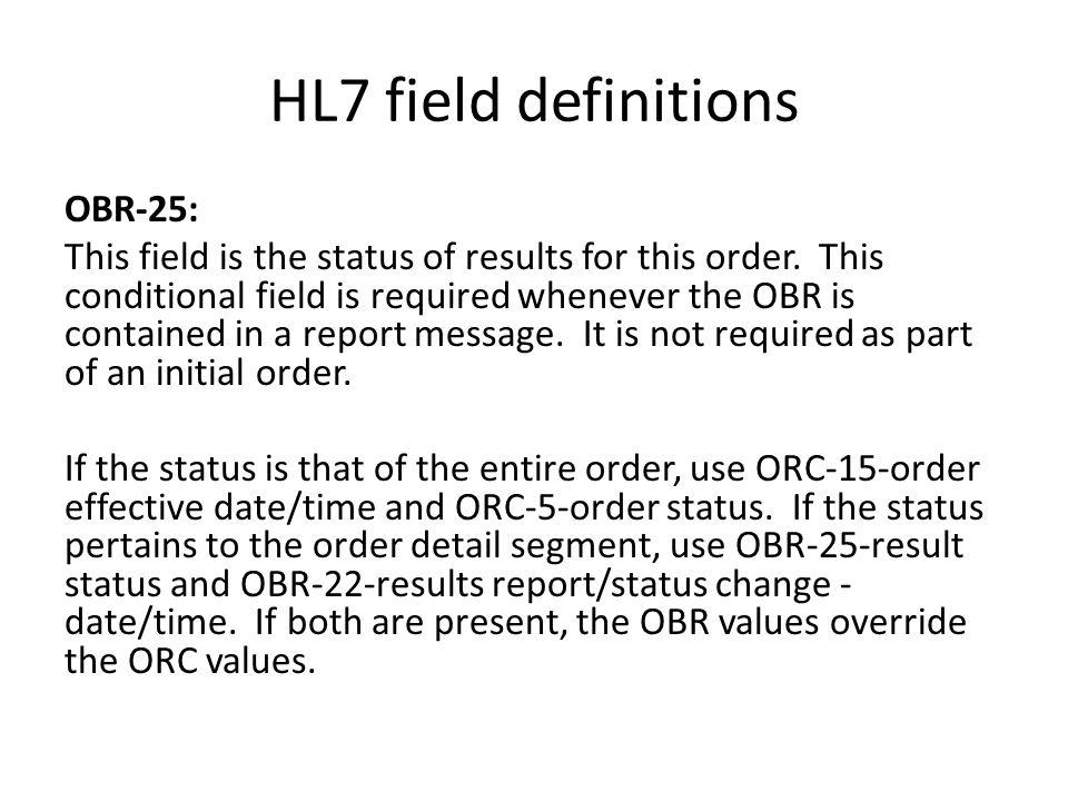 HL7 field definitions