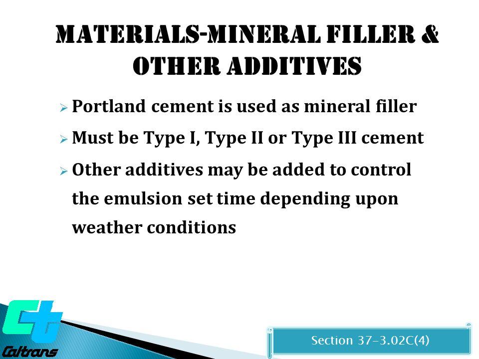 Materials-Mineral filler & other additives