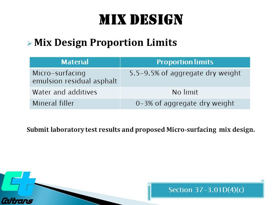 Mix design Mix Design Proportion Limits