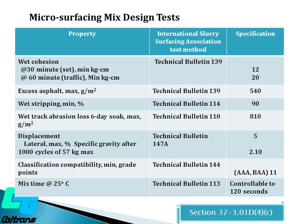 International Slurry Surfacing Association test method