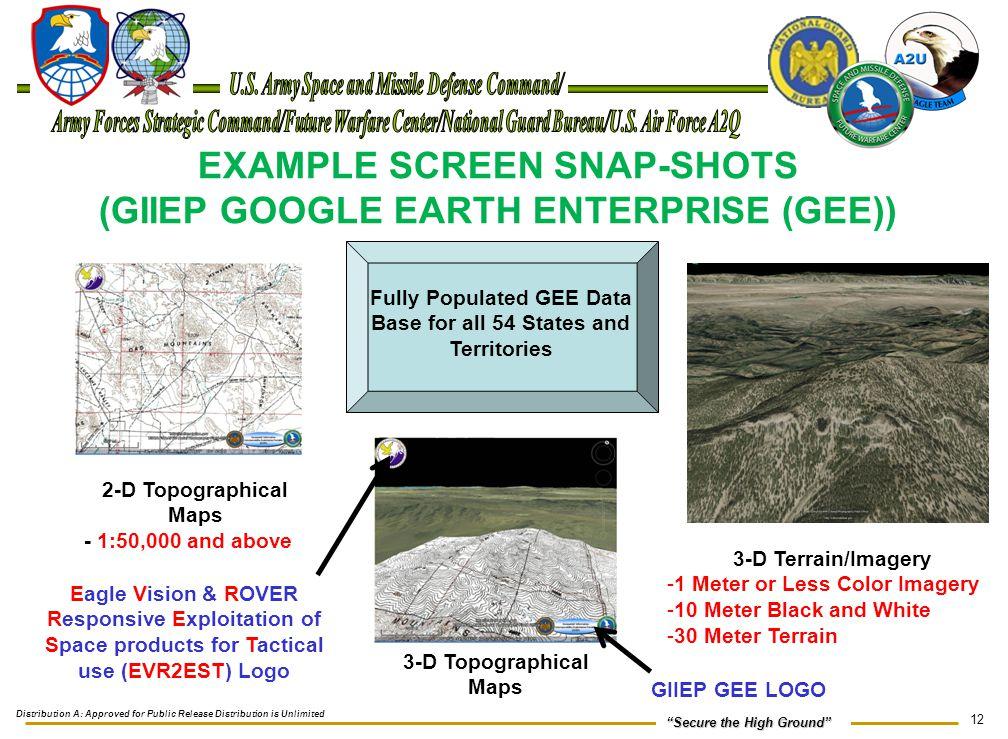 EXAMPLE SCREEN SNAP-SHOTS (GIIEP GOOGLE EARTH ENTERPRISE (GEE))