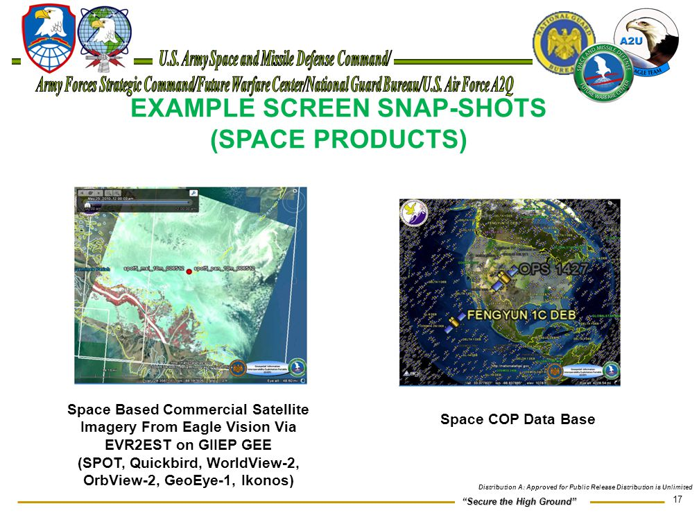 EXAMPLE SCREEN SNAP-SHOTS (SPACE PRODUCTS)